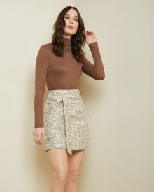 Gold jacquard High-waist short skirt