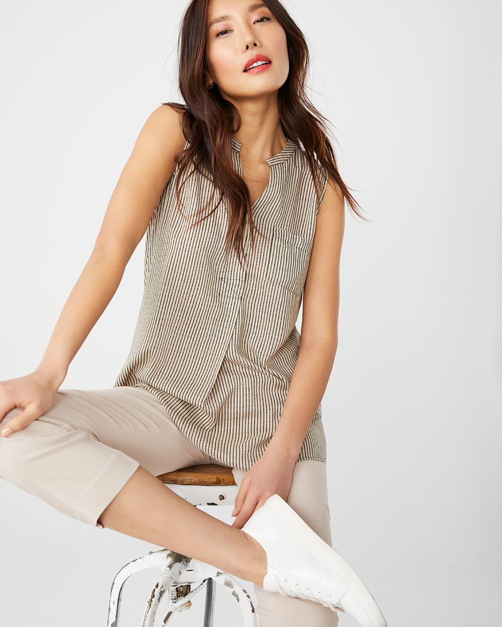 C&G Sleeveless tunic blouse with cross-stitch detail