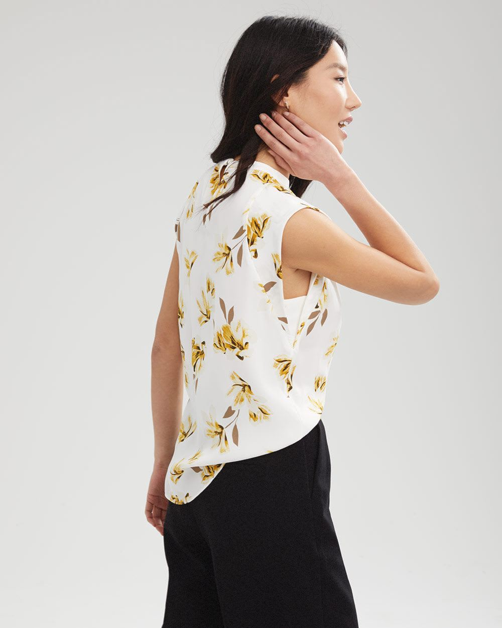 Short Sleeve Soft Twill High Neck Blouse