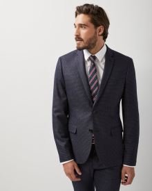 Slim fit Stretch navy houndstooth blazer