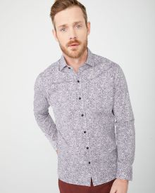 Tailored fit stretch Two-tone Foliage shirt