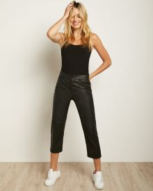 High-Waisted Crop Slim Faux Leather Pant