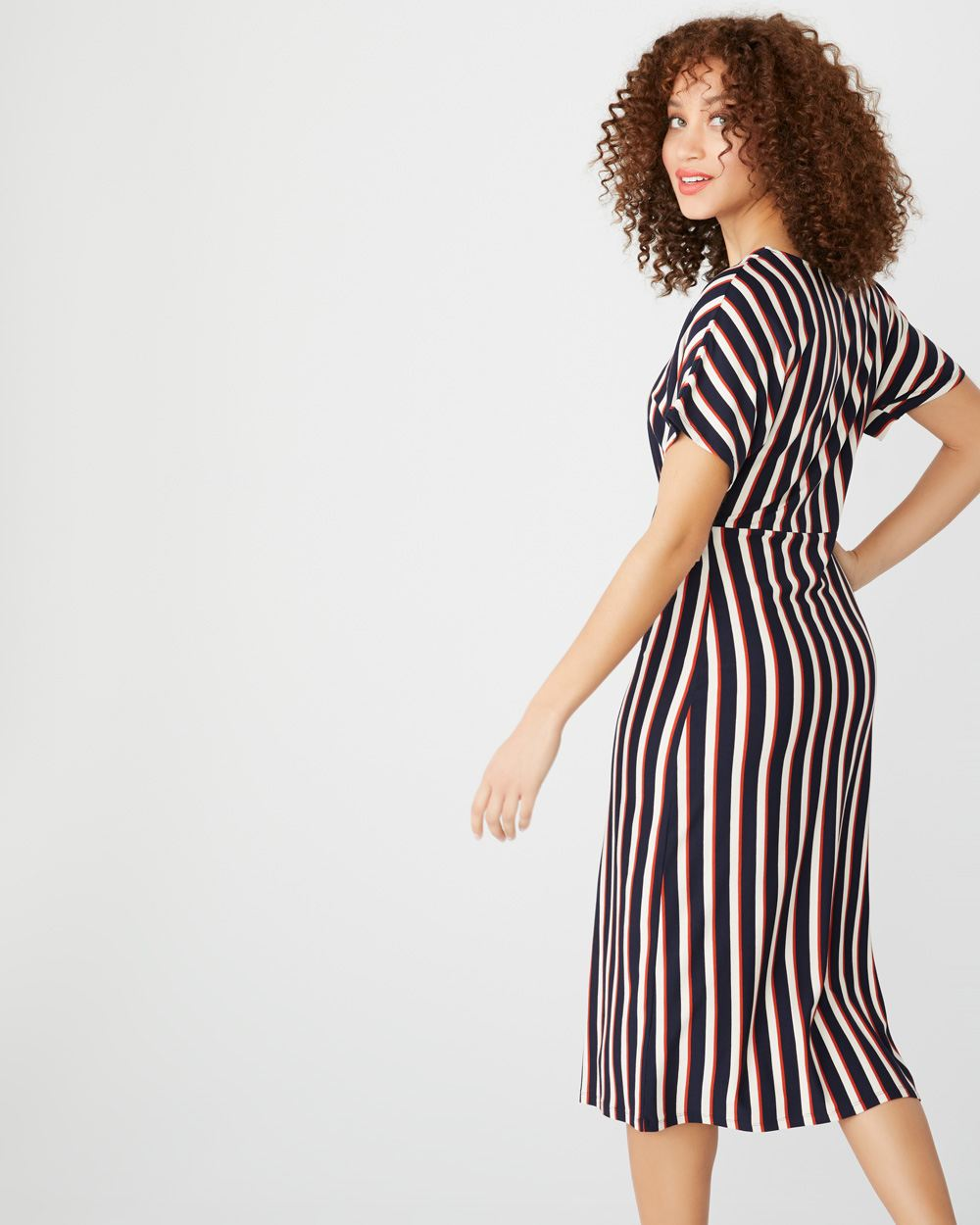 Striped short sleeve midi dress