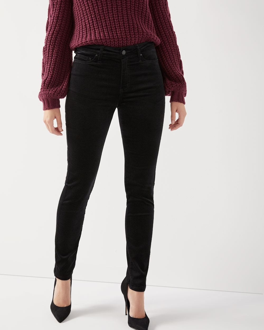 Pantalon skinny taille haute en velours côtelé   RW CO. 7d38593e13d3