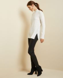 Cashmere-like Mock-neck tunic Sweater