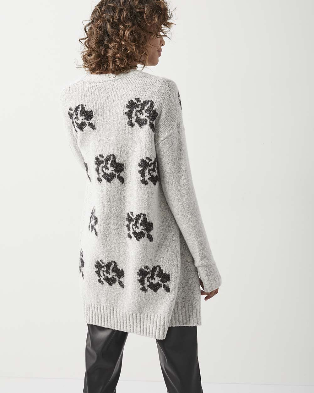 C&G Jacquard flower open-front cardigan