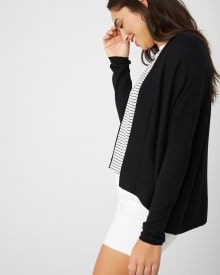 Loose-fit long sleeve cashmere-like cardigan