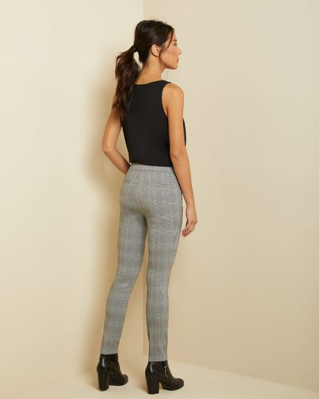 C&G Camel and blue plaid City legging pant - 28''