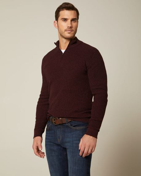 Zipped mock-neck sweater