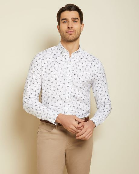 Tailored fit white floral shirt