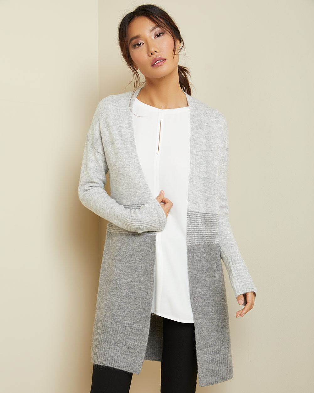 C&G Grey-tone Spongy open-front cardigan
