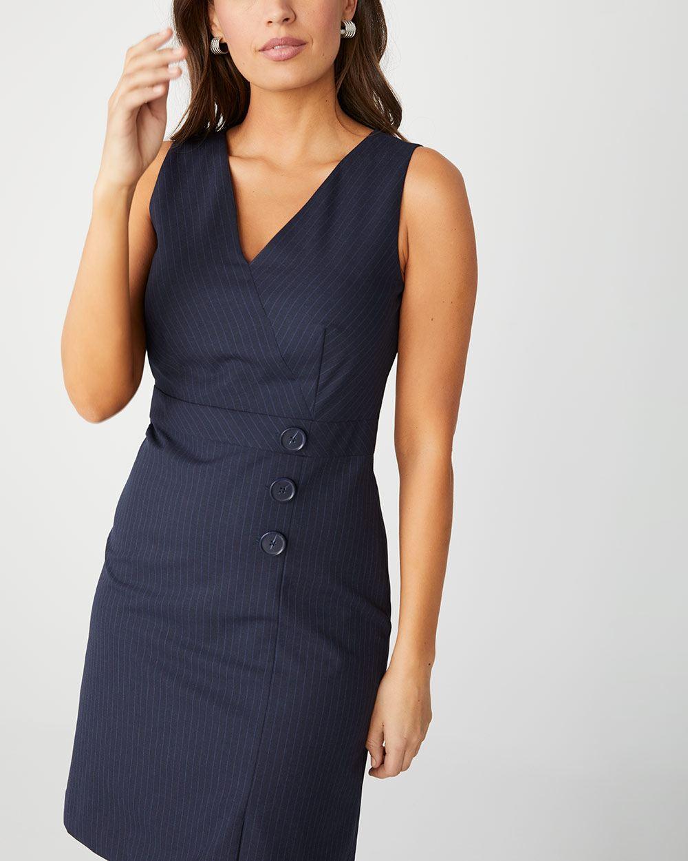 95724a8d1d Pinstripe sleeveless dress with buttons