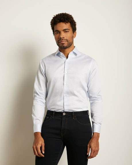 Regular Fit Micro Dot and Check Dress Shirt
