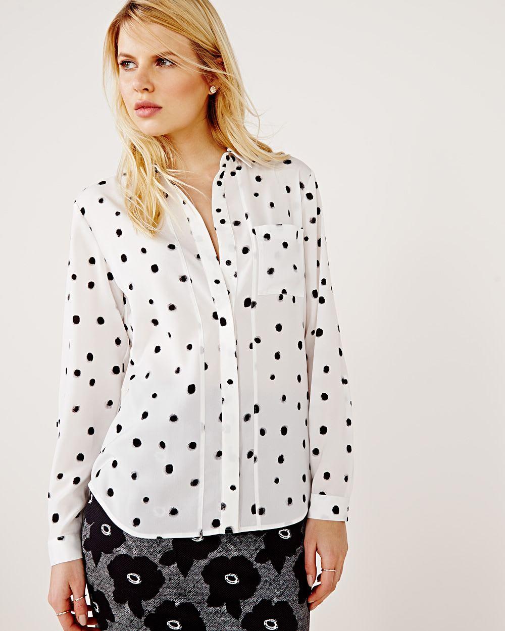 9e9e3de4ac9 Silky long sleeve blouse with polka dot print