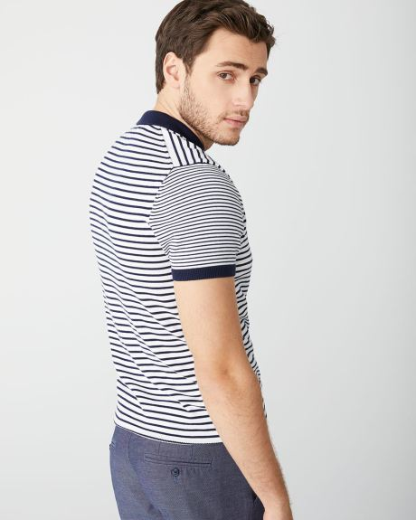 Short Sleeve navy stripe polo