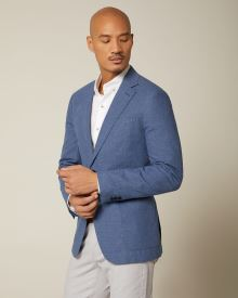 Slim fit blue linen-blend blazer