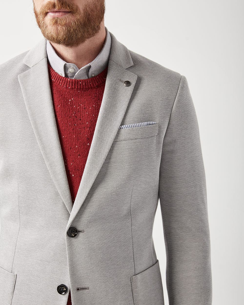 Slim fit pique knit blazer with elbow patch