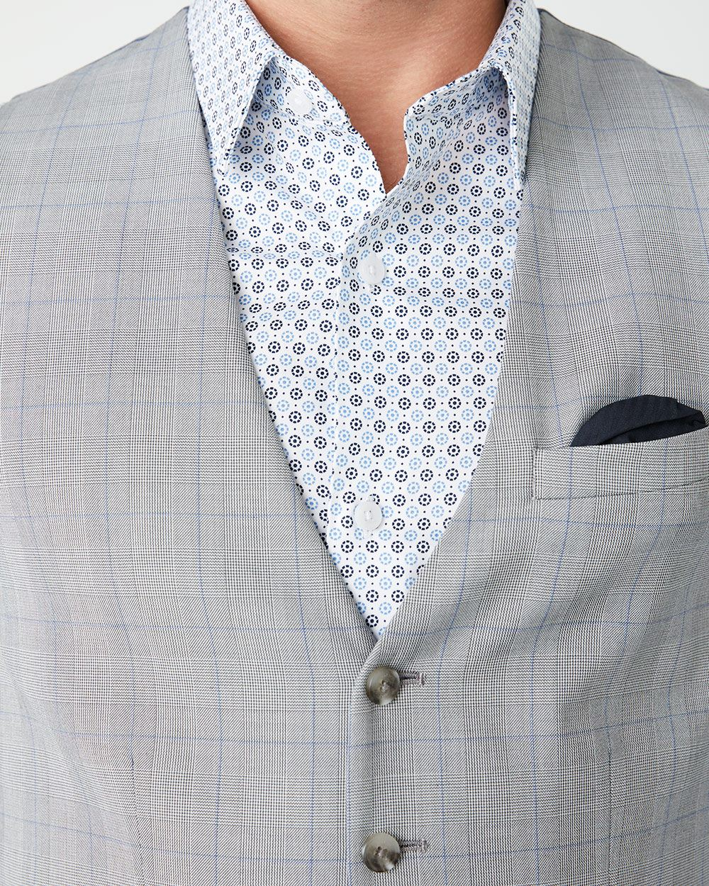 Grey and blue check suit vest