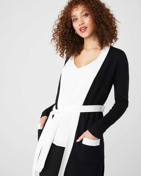 Belted cardigan with contrast trims