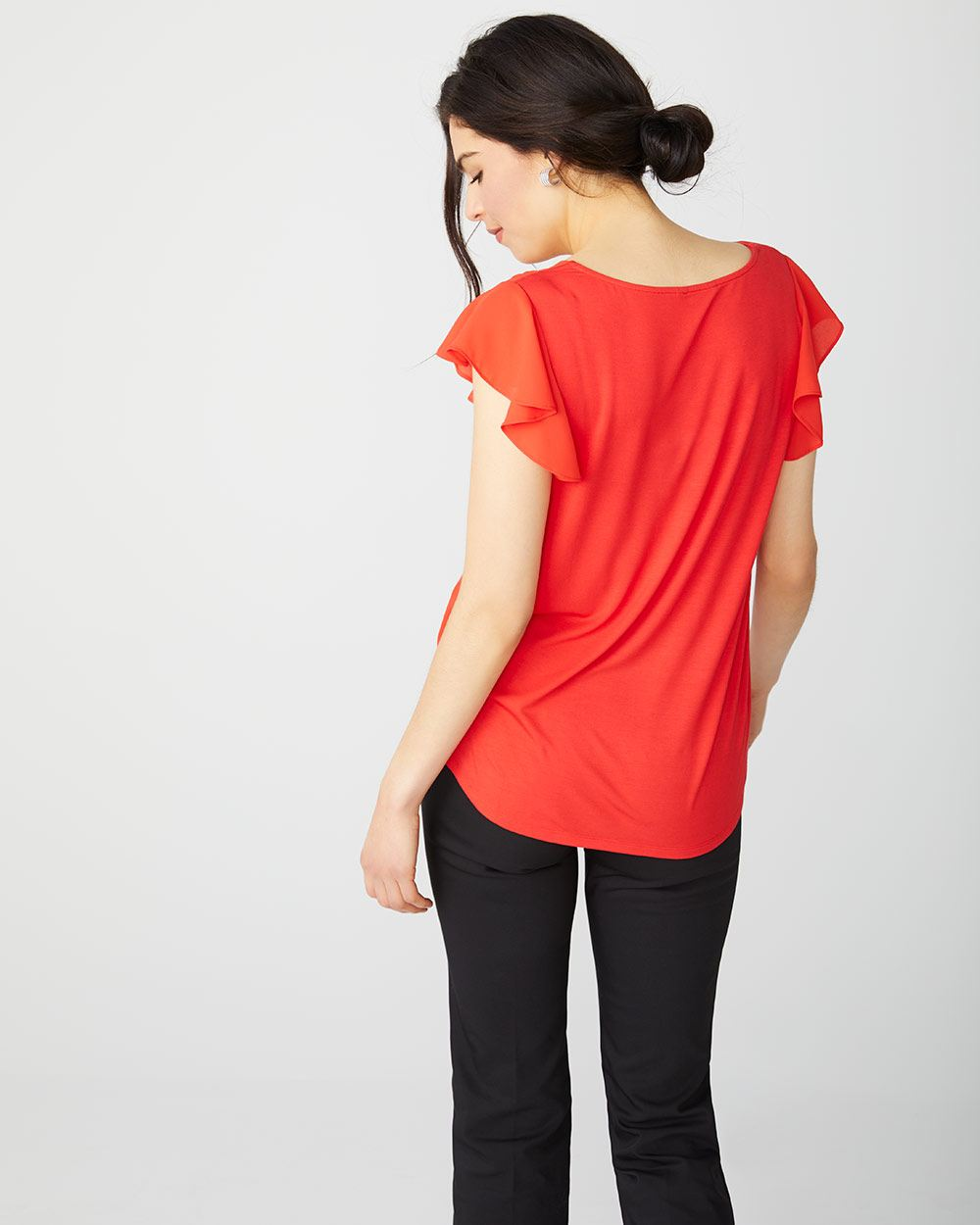 Flutter sleeve Square neck Mixed Media t-shirt