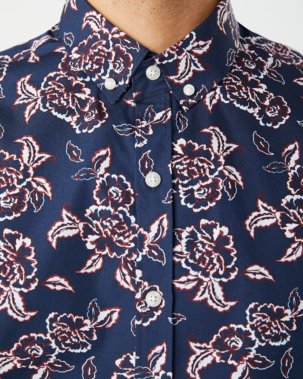 Athletic fit short sleeve large floral shirt