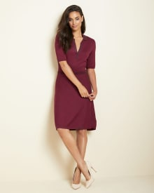 polo collar Fit and flare sweater dress