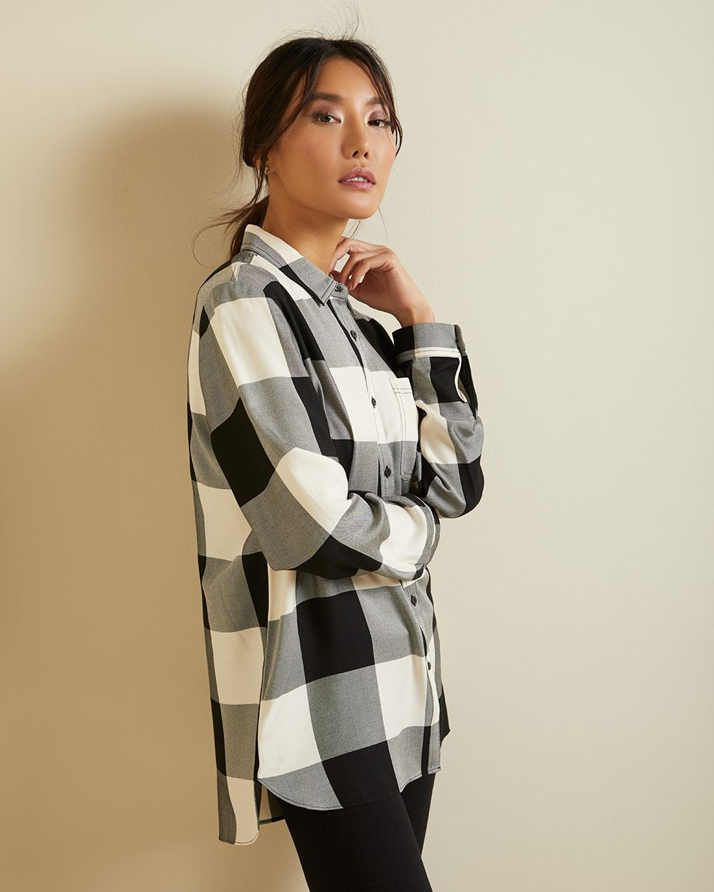 Plaid button-down blouse