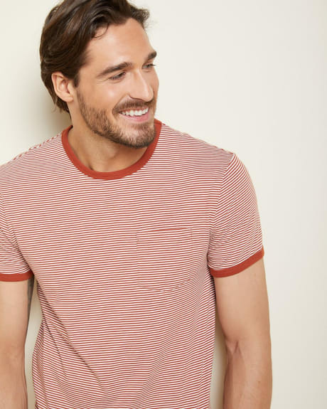 striped crew-neck t-shirt with pocket