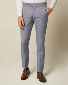 Slim Fit Blue Check Suit Pant