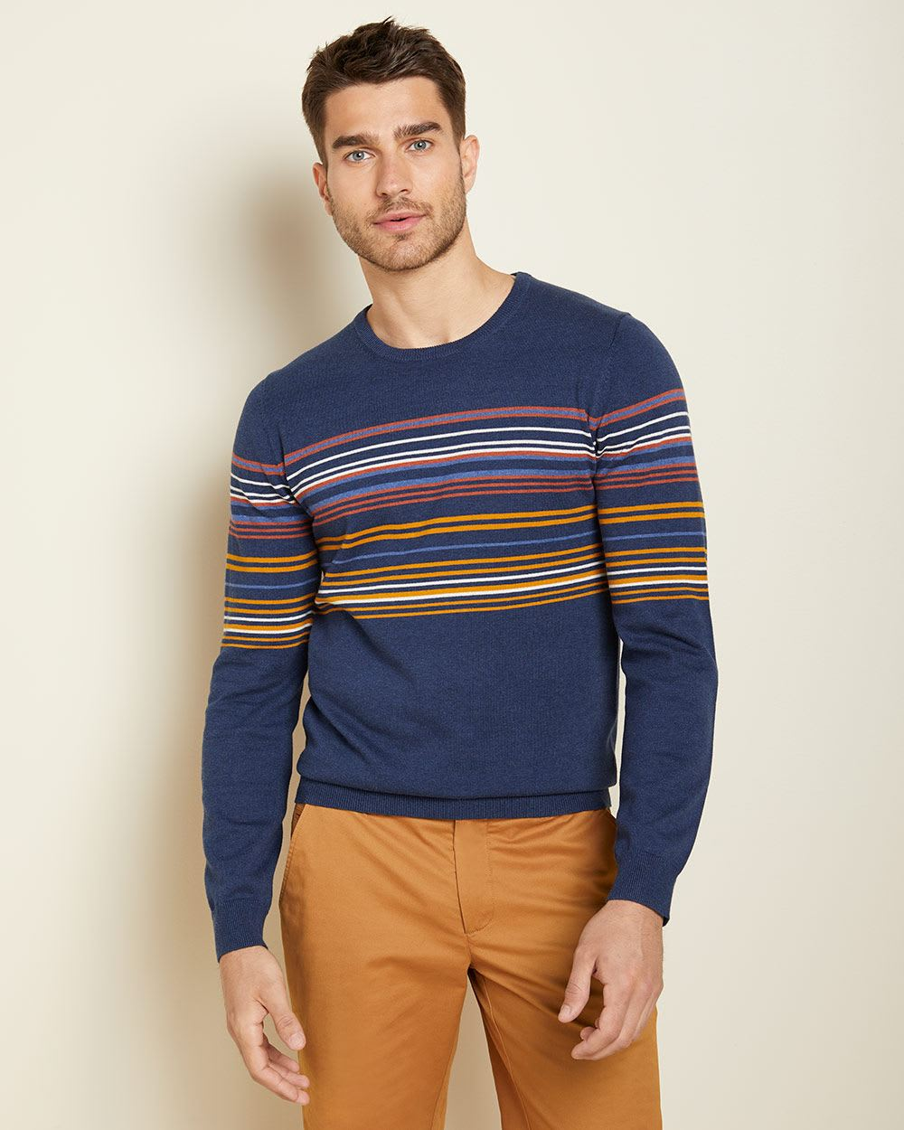 Placement stripe crew-neck sweater
