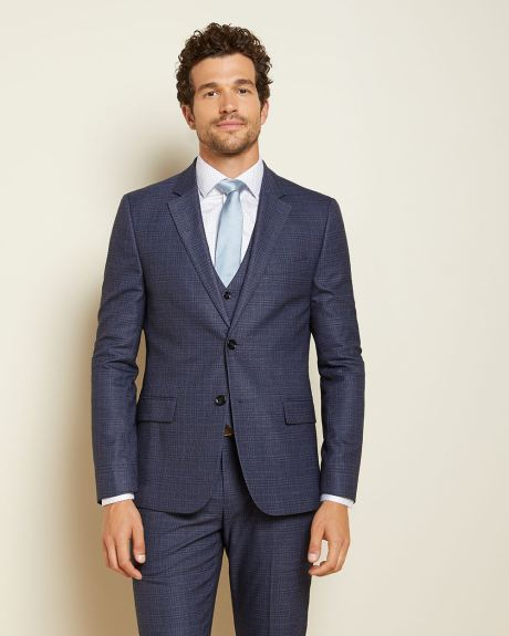 Slim Fit blue prince of wales suit Blazer