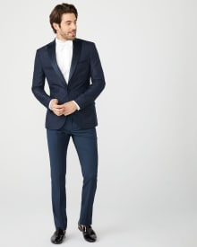 Slim fit Navy Jacquard suit blazer