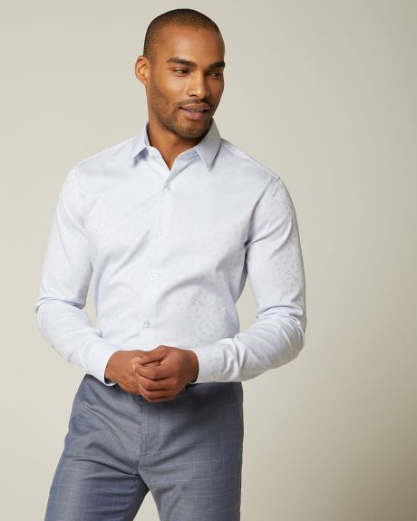 Tailored fit floral jacquard dress shirt