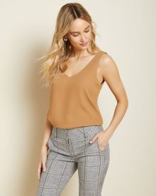 Coconut brown Silky Crepe Cami Blouse