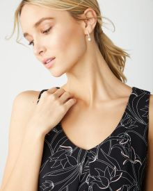 Front pleat printed cami blouse