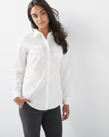 Stretch poplin button-down blouse