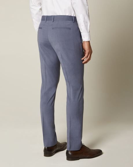 Slim fit blue wool and silk blend suit pant