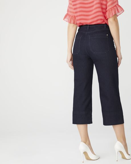 High-rise crop wide leg jeans in raw denim