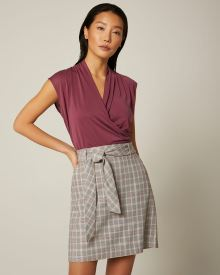Belted high-waist camel and pink plaid skirt
