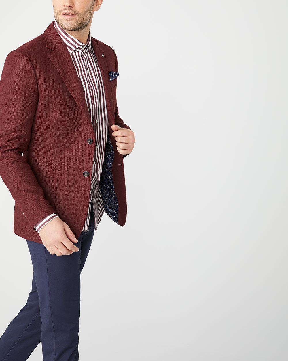 Slim Fit Burgundy red Linen-blend blazer