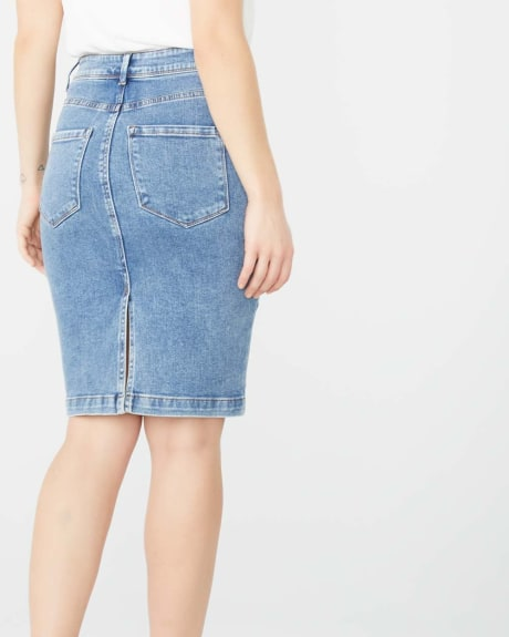 Medium wash denim pencil skirt