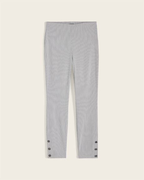 Striped High-waist legging pant with buttoned cuffs
