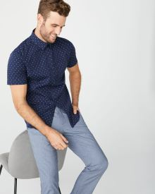 Tailored Fit Short Sleeve Navy clipping Shirt