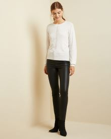 Cashmere-like Puffy sleeve Sweater with pointelle