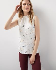 Sleeveless Mixed Media T-shirt with ruffles and frills