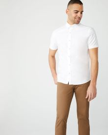 Athletic fit short sleeve white oxford shirt