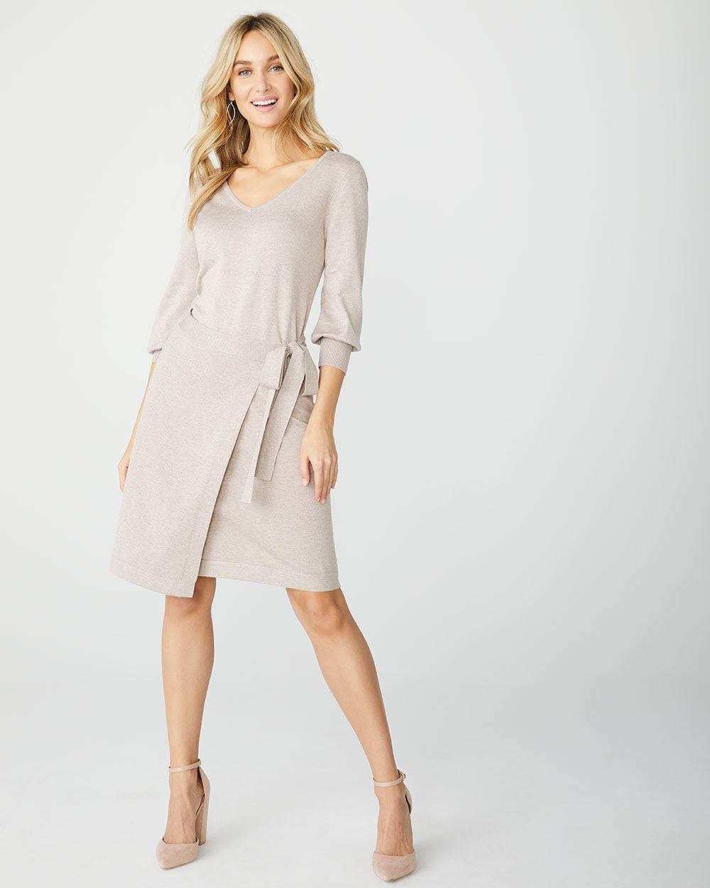 Faux-Wrap sweater dress
