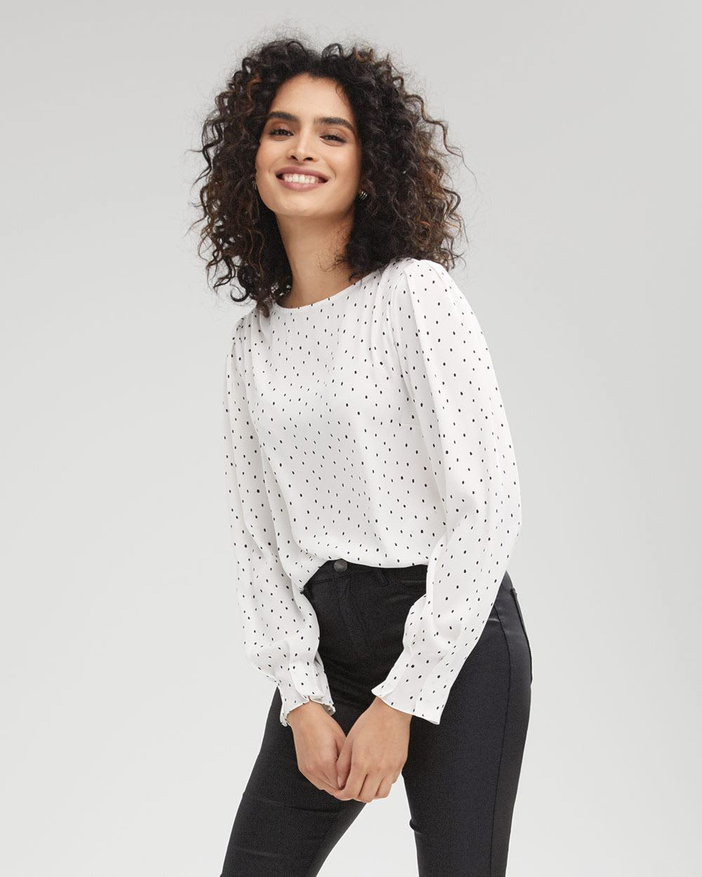 Draped-Neck Popover Blouse