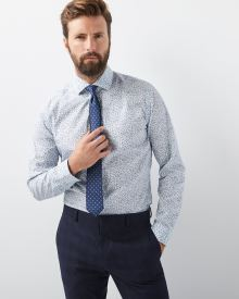 Tailored Fit Blue Floral Dress Shirt