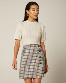Plaid High-waist faux wrap skirt